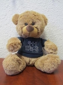Medium Brown Bear Navy T with silver imprint
