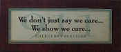 Plaque We Show We Care..Emergency Services 8x18