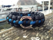 "Thin Blue Line 8"" and 9"" Paracord Bracelets w/ Fallen Hero ring"
