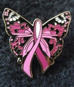 Breast Cancer Butterfly Pin