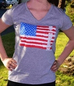 9-1-1 DISPATCHER Gray American Flag Ladies V-Neck T-shirt