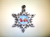 Die Cast high Gloss Nickel 9-1-1 Snowflake Ornament