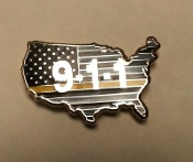 USA Flag Gold Line Pin