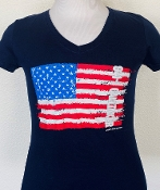 9-1-1 CALLTAKER Navy American Flag Ladies V-Neck T-shirt